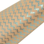 SEI - 12 x 12 Craft Paper with Foil Accents - Turquoise Organic Chevron