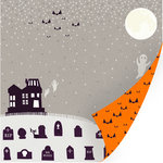 SEI - Spooks Collection - Halloween - 12 x 12 Double Sided Pearl Foil Paper - Creak, CLEARANCE