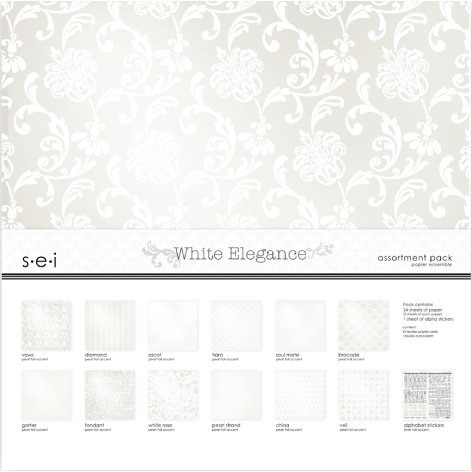 SEI - White Elegance Collection - 12 x 12 Assortment Pack