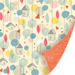 SEI - Vanilla Sunshine Collection - 12 x 12 Double Sided Blue Pearl Foil Paper - Raindrop Corner