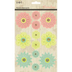 SEI - Catalina Collection - 3 Dimensional Flower Stickers with Glitter Accents