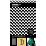 SEI - Iron-On Art - Flocked Transfer Sheet - Black Chevron