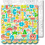 Sassafras Lass - Me Likey Collection - 12 x 12 Double Sided Paper with Border Strip - Happy Tunes