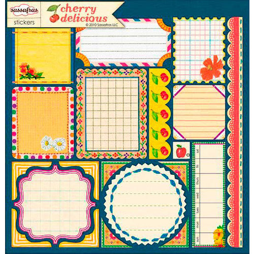 Sassafras Lass - Cherry Delicious Collection - 12 x 12 Cardstock Stickers - Journal Tags