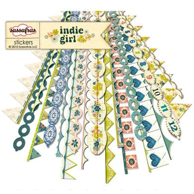 Sassafras Lass - Indie Girl Collection - 12 x 12 Cardstock Stickers - Flag Banners