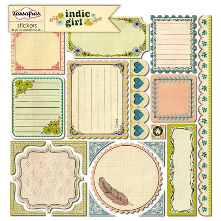 Sassafras Lass - Indie Girl Collection - 12 x 12 Cardstock Stickers - Journal Tags, CLEARANCE