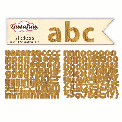 Sassafras Lass - Sunshine Broadcast Collection - Cardstock Stickers - Mini Alphabet - Wood Grain