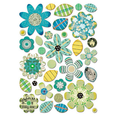 Sassafras Lass - Self Adhesive Chipboard Stickers - Garden Bits - Blues