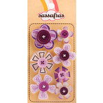 Sassafras Lass - Serendipity - Life at the Pole Collection - In a Stitch Self Adhesive Button Blossoms - Purple, CLEARANCE