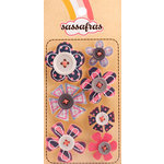 Sassafras Lass - Serendipity - Life at the Pole Collection - In a Stitch Self Adhesive Button Blossoms - Grey, CLEARANCE