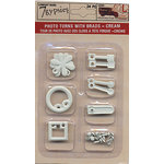 7 Gypsies - Photo Turn Shapes and Brads Kit - Cr?me, CLEARANCE