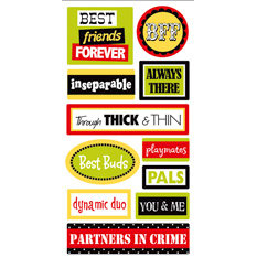 Sandylion - Essentials - 3 Dimensional Stickers - Friends Words, CLEARANCE