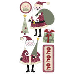 Sandylion - Kelly Panacci Collection - Christmas - 3-Dimensional Stickers - Holiday Santas