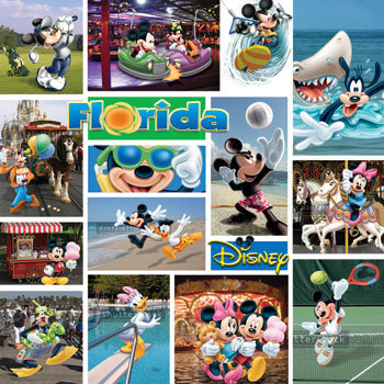 Sandylion - Disney Collection - 12x12 Paper - Mickey - Florida, CLEARANCE