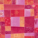 Sandylion - Kelly Panacci - Artsy Collection - 12x12 Paper - Red Patchwork