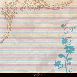 Sandylion - Rouge de Garance - Ailes ou Fleurs Collection - 12x12 Double Sided Paper - Dream Diary, CLEARANCE
