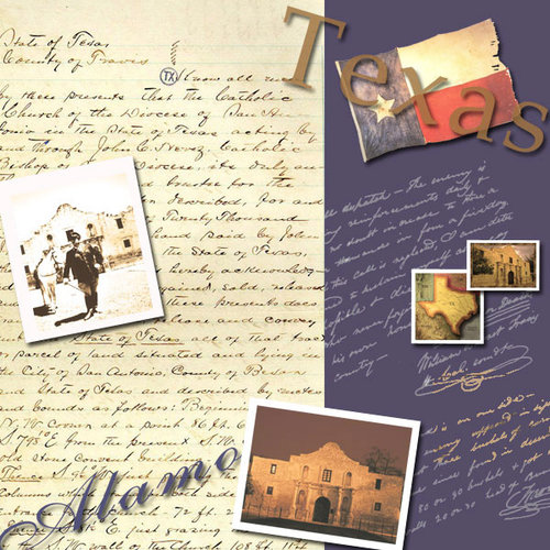 Scrapbook Customs - United States Collection - Texas - 12 x 12 Paper - Texas Heritage