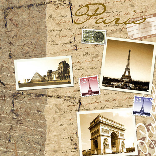 Scrapbook Customs - World Collection - France - 12 x 12 Paper - Paris