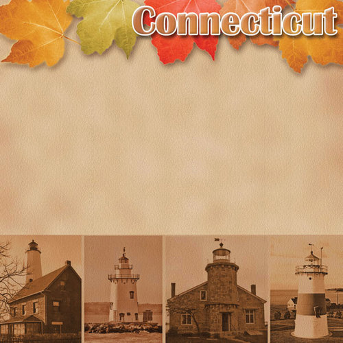 Scrapbook Customs - United States Collection - Connecticut - 12 x 12 Paper