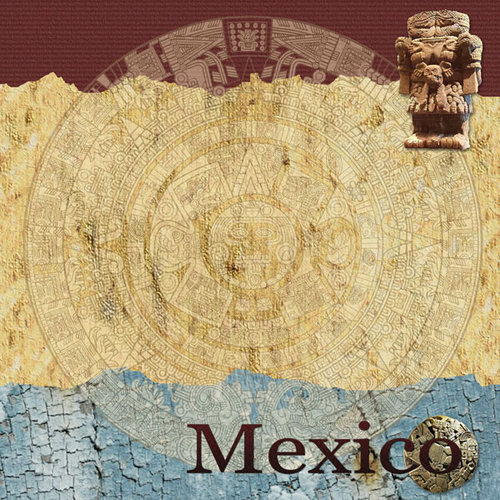 Scrapbook Customs - World Collection - Mexico - 12 x 12 Paper - Aztec