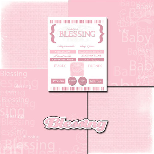 Scrapbook Customs - LDS Collection - 12 x 12 Scrapbook Kit - Baby Girl Blessing Too