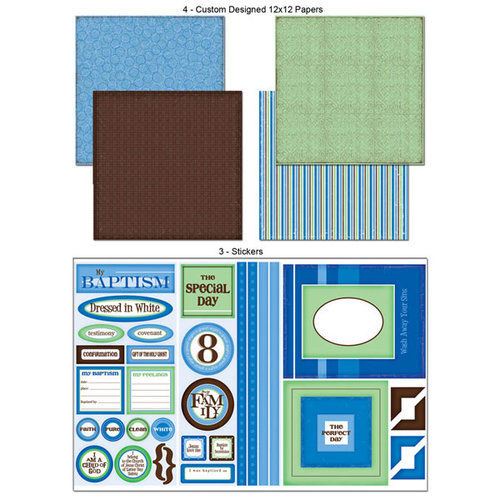 Scrapbook Customs - LDS Collection - 12 x 12 Scrapbook Kit - Baptism - Boy