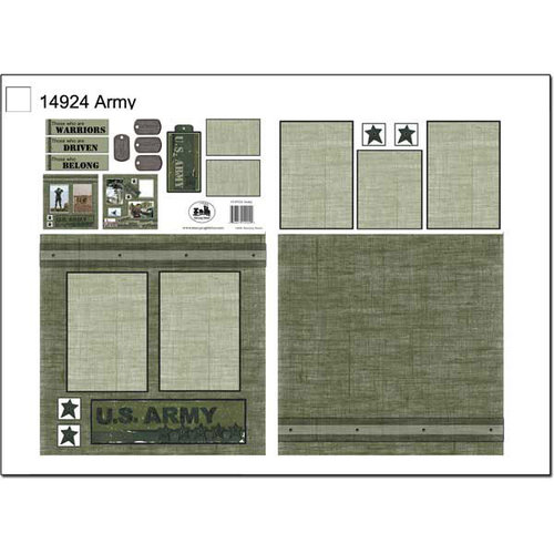 Scrapbook Customs - Military Collection - 12 x 12 Page Kit - Army
