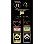 Scrapbook Customs - United States Collection - Connecticut - Cardstock Stickers - Road Signs