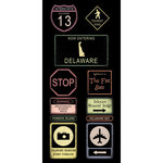 Scrapbook Customs - United States Collection - Delaware - Cardstock Stickers - Road Signs