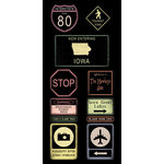 Scrapbook Customs - United States Collection - Iowa - Cardstock Stickers - Road Signs