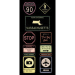 Scrapbook Customs - United States Collection - Massachusetts - Cardstock Stickers - Road Signs