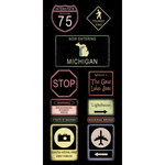 Scrapbook Customs - United States Collection - Michigan - Cardstock Stickers - Road Signs