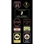 Scrapbook Customs - United States Collection - New Jersey - Cardstock Stickers - Road Signs