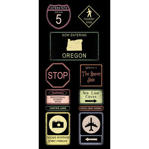 Scrapbook Customs - United States Collection - Oregon - Cardstock Stickers - Road Signs