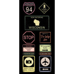 Scrapbook Customs - United States Collection - Wisconsin - Cardstock Stickers - Road Signs