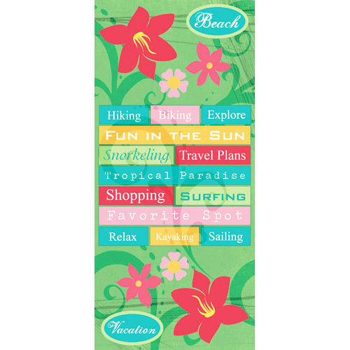 Scrapbook Customs - Bon Voyage Collection - Cardstock Stickers - Tropical Flower