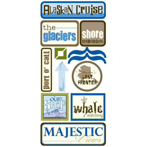 Scrapbook Customs - United States Collection - Alaska - Cardstock Stickers - Alaskan Cruise 3
