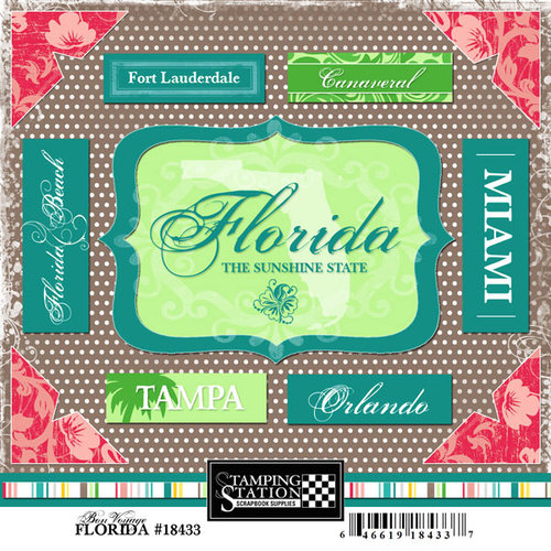 Scrapbook Customs - United States Collection - Florida - Cardstock Stickers - Bon Voyage