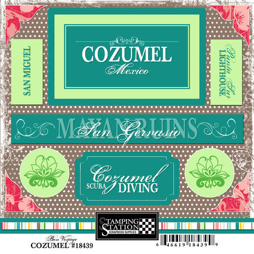 Scrapbook Customs - World Collection - Mexico - Cardstock Stickers - Cozumel - Bon Voyage