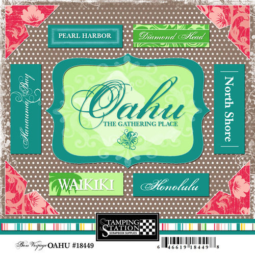 Scrapbook Customs - United States Collection - Hawaii - Cardstock Stickers - Oahu - Bon Voyage