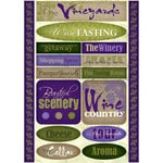 Scrapbook Customs - Travel Collection - Vineyard - Cardstock Stickers - Wine Country
