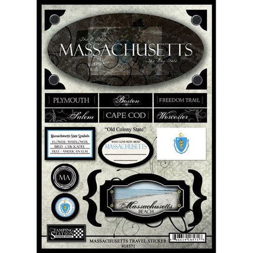 Scrapbook Customs - United States Collection - Massachusetts - State Cardstock Stickers - Travel