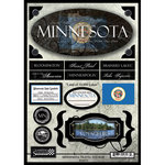 Scrapbook Customs - United States Collection - Minnesota - State Cardstock Stickers - Travel
