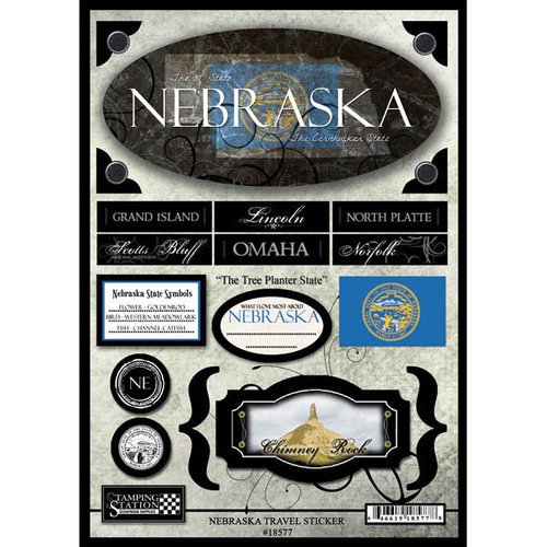 Scrapbook Customs - United States Collection - Nebraska - State Cardstock Stickers - Travel