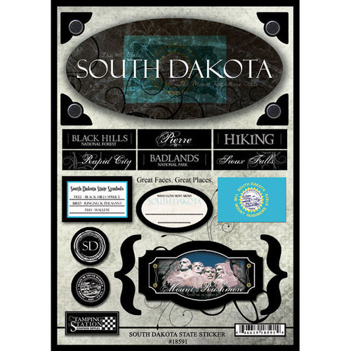 Scrapbook Customs - United States Collection - South Dakota - State Cardstock Stickers - Travel