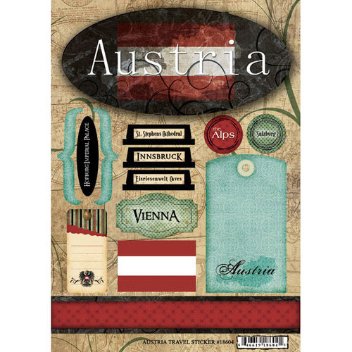 Scrapbook Customs - World Collection - Austria - Cardstock Stickers - Travel