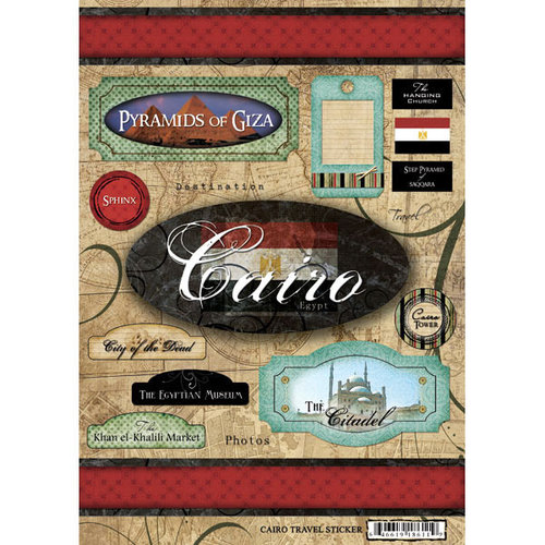 Scrapbook Customs - World Collection - Egypt - Cardstock Stickers - Travel - Cairo