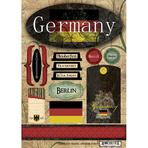 Scrapbook Customs - World Collection - Germany - Cardstock Stickers - Travel
