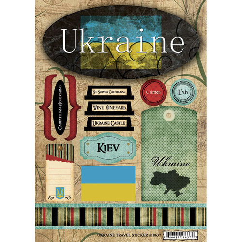 Scrapbook Customs - World Collection - Ukraine - Cardstock Stickers - Travel