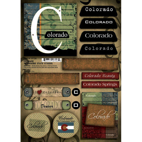Scrapbook Customs - United States Collection - Colorado - Cardstock Stickers - Patchwork